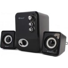 KISONLI Multimedia ηχεία U-2100, 2.1ch, 5W & 2x 3W, USB, μαύρο